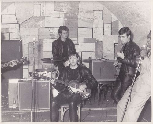 The Beatles with original drummer Pete Best, backing up American...
