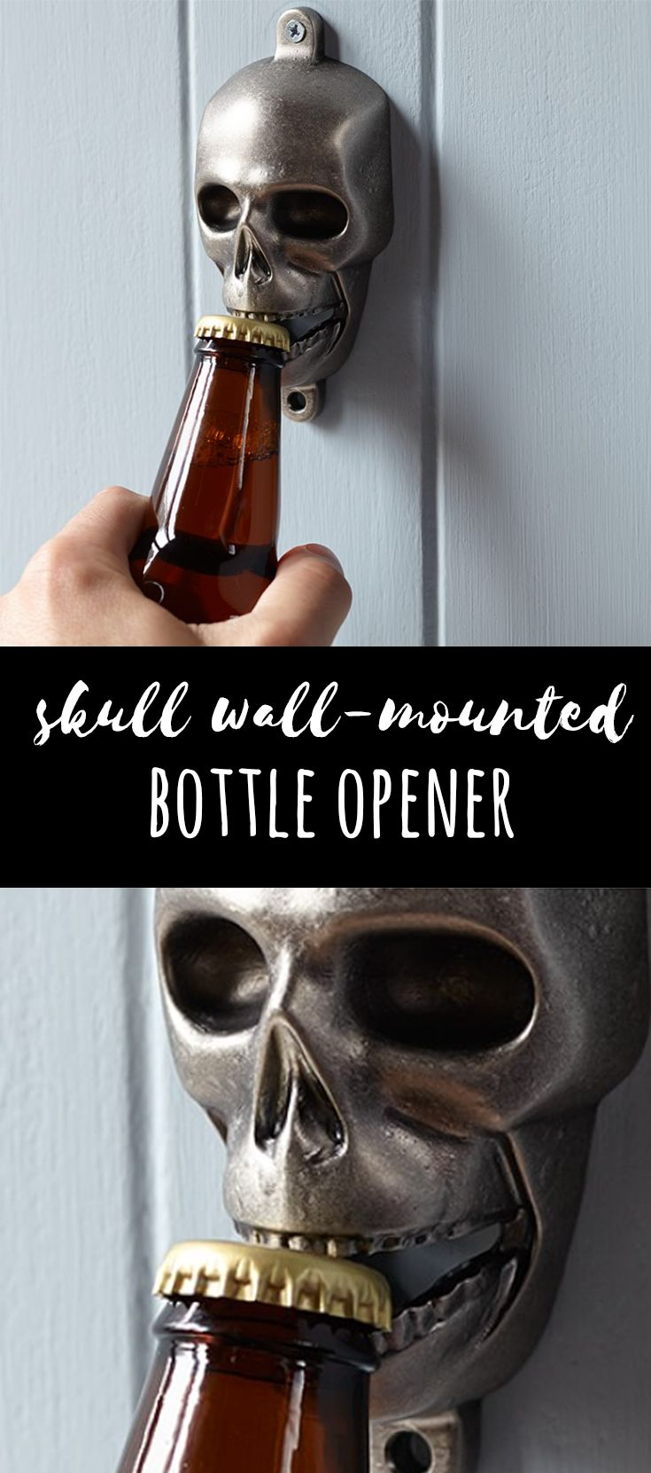 Awesome skull bottle opener! I need one of these in my kitchen! #skulldecor #gothicdecor #gothickitchen #halloweenideas #afflink