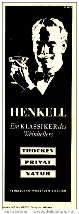 Original-Werbung/ Anzeige 1953 - HENKELL SEKT - ca. 75 x 220 mm