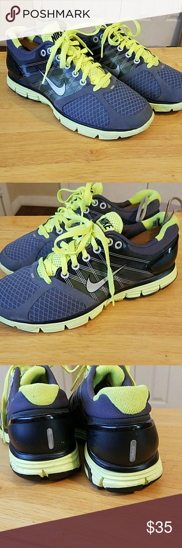 Nike Lunarglide 2 size 7 ladies /youth Nike Lunargline 2's in GUC tons of life left pictures don't do them justice, reasonable offers considered. Color is Grey and florescent  green. Nike Shoes Athletic Shoes