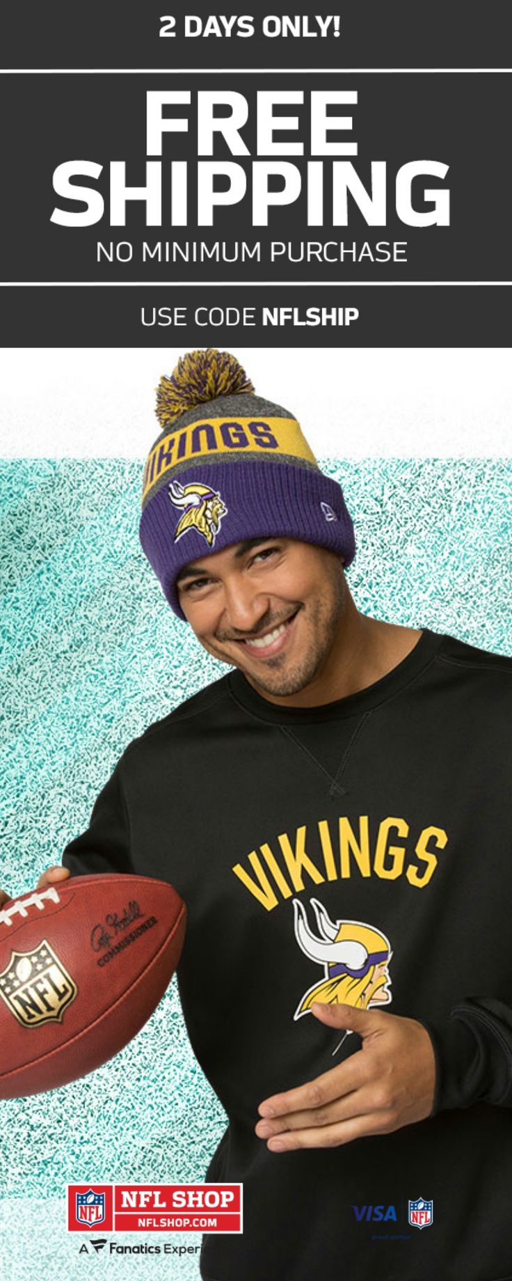 2 DAYS ONLY! | FREE SHIPPING WITH ANY PURCHASE AT NFL SHOP | USE CODE: NFLSHIP #holiday #christmas #gifts #nfl #shop #football #fan #him #her #vikings #packers #patriots #eagles