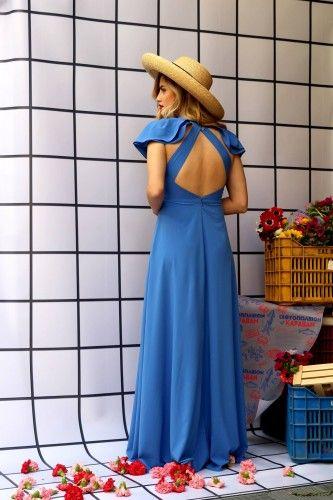 Μπλε ρουά φόρεμα από το brand Karavan, που ονομάζεται Oceane και κοστίζει 150 ευρώ.