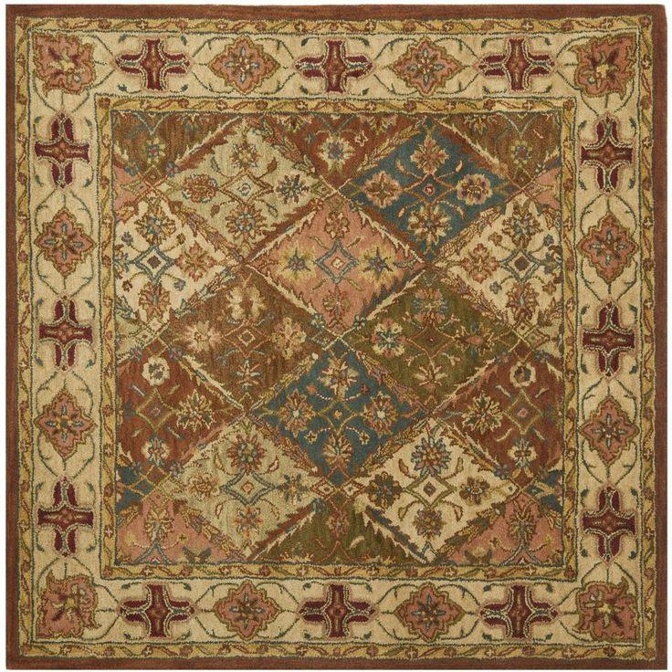Hand Tufted Beige Heritage Wool Carpet Area Rug 6u0027 X 6u0027 Square