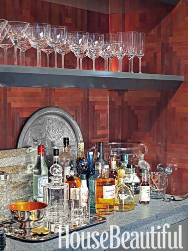 Gentleman's bar. Design: David Rockwell. housebeautiful.com. #home_bar #gentlemans_bar #dark-wood
