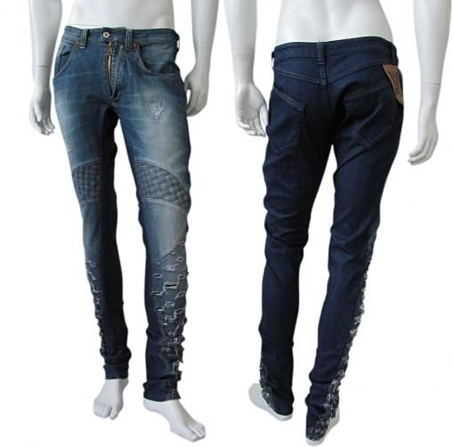 Washed-out dark blue jeans with decoration of frayed relief and inlaid in the legs, seams in contrast, with darts and particular pockets behind, open bottom, slim fit. Old price EUR 341.00  New price EUR 137.00 Read more: http://bit.ly/1o3L3Fz  #Jeans #Shopping