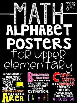 Make your alphabet line more meaningful (and bright!) with these posters! See below for words. *Could also be used as a word wall. This download contains 39 different posters with key math vocabulary. There are 39 black/bright, 39 white/bright, and 39 black/white posters.