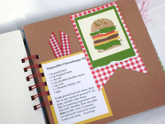 6x6 cookbook mini album recipe book scrapbook by HBixbyArtworks, $25.00