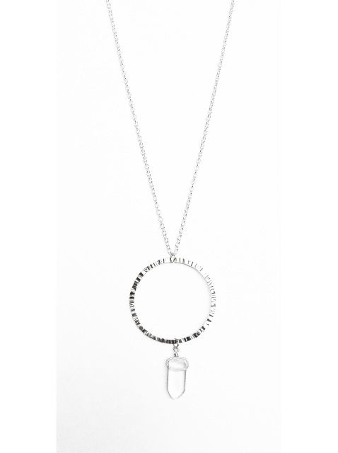 Medium Circle Necklace - Sterling Silver and Quartz Crystal