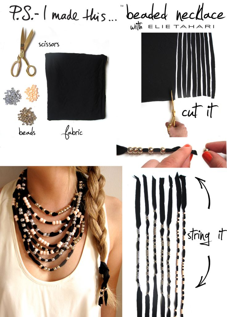 DIY Necklace - pony beads and fabric strips