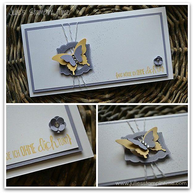 """Karte mit """"Alles nur Sprüche"""" und """"Label Love"""" in den Farben Flüsterweiß, Safrangelb und Blauregen und den Stanzen """"Designeretikett"""", """"Eleganter Schmetterling"""" und """"Mini-Schmetterling"""""""