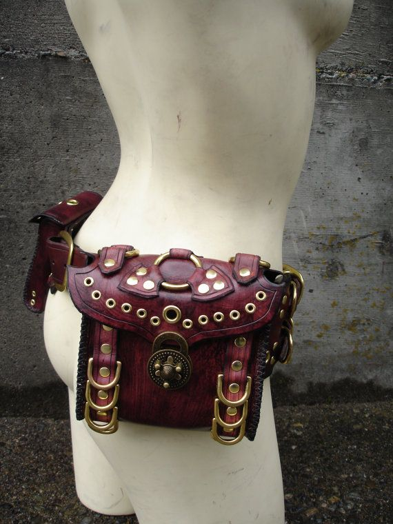 `.Side-View of a previously Pinned Steampunk Leather Belt Bag. I can't wait to be able to afford something like this!