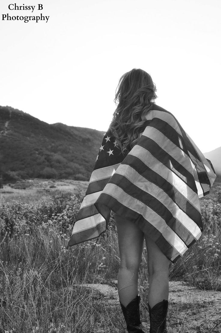American flag photoshoot black and white