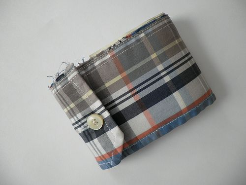 DIY Men's Oxford Shirt Cuff Upcycled Wallet w/ Raw Edge + Button Closure