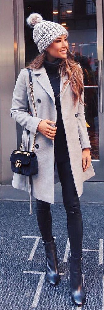 #winter #outfits gray peacoat