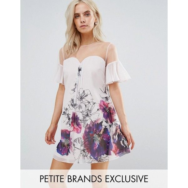 Little Mistress Petite Floral Printed Shift Dress With Fluted Sleeves (115 AUD) ❤ liked on Polyvore featuring dresses, multi, floral skater dress, floral shift dress, sleeve maxi dress, petite prom dresses and sleeved prom dresses