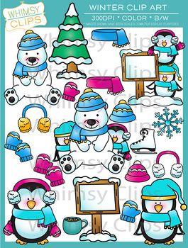 The winter clip art set contains 35 image files, which includes 20 color images and 15 black & white images in both png and jpg. All images are 300dpi for better scaling and printing. $