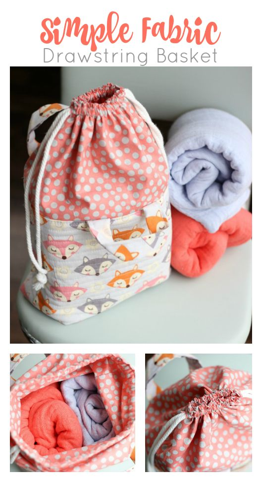 Quality Sewing Tutorials: Simple Fabric Drawstring Basket tutorial.