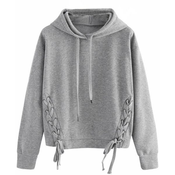 Gray Lace Up Detail Long Sleeve Drawstring Hoodie (99 PEN) ❤ liked on Polyvore featuring tops, hoodies, gray hoodie, long sleeve hoodies, grey hooded sweatshirt, lace-up tops and long sleeve tops