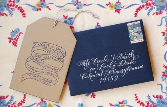 I wish I could do calligraphy! Great tag save the date and lovely navy calligraphy envelope