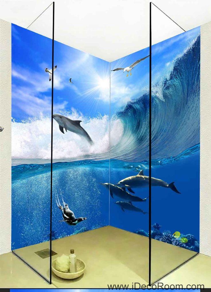 3D Wallpaper Waves Dophin Water Seagull Wall Murals Bathroom Decals Wall Art Print Home Office Decor