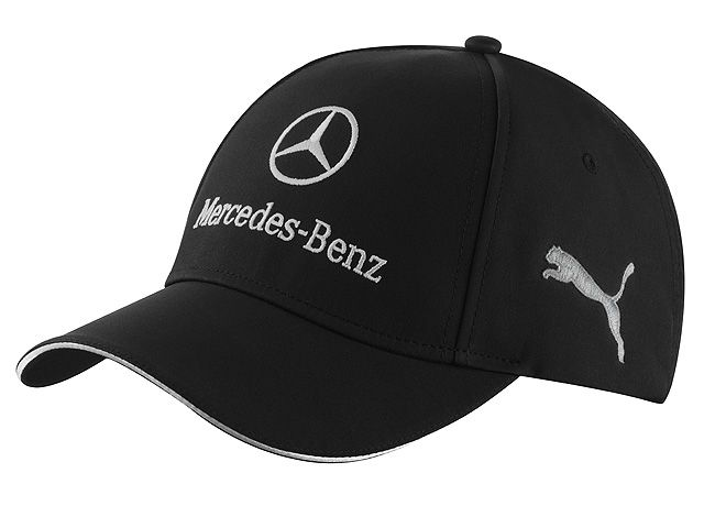 Unisex cap, Team B67995201 This matt black baseball cap features a central Mercedes-Benz logo, embroidered in silver-grey.  The sides are embroidered with a silver-grey PUMA Cat logo and MERCEDES AMG PETRONAS logo.  The sandwich peak detail is also in silver-grey.  Colour: matt black  100% polyester  Metal clip for adjusting fit