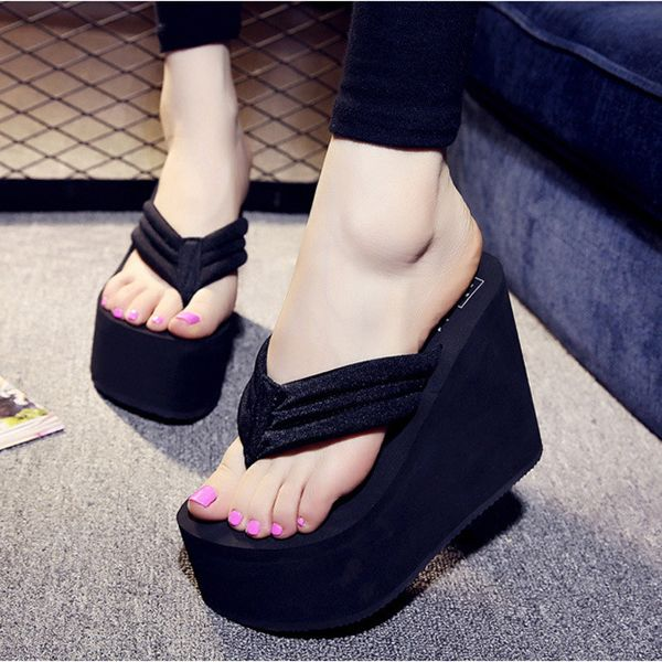 Women Sexy High Heels Flip Flops Slippers Wedge Platform Beach Shoes