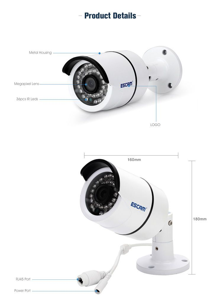 ESCAM QD410 H.265 4MP IP camera. Model: QD410. 4MP up to 2592 x 1520 resolution, ensure ultra clear image quality and detailed pictures. H.265 compression, high definition image, lower bit rate. Built-in 36pcs 5mm IR LEDs for night vision. | eBay!