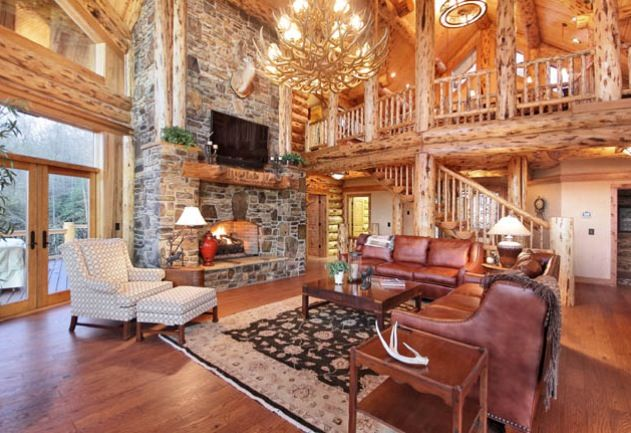 stunning log cabin living room | Log Home Living Rooms | Living Room - Log Cabin | Homes ...