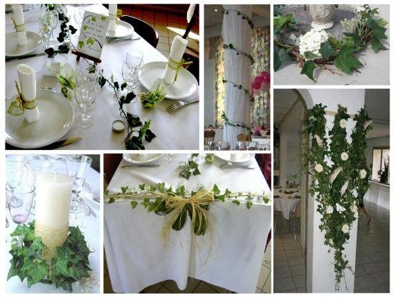 9 mai 2015 blanc vert lierre mariage et tables - Decoration de table mariage vert et blanc ...