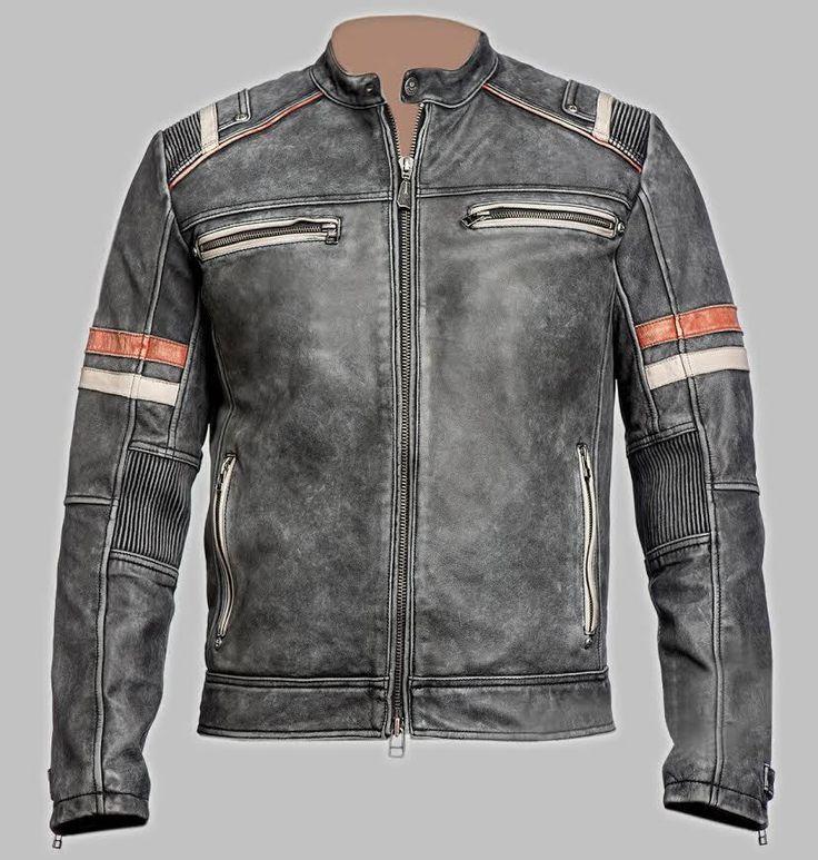 Men's Biker Vintage Cafe Racer Motorcycle Retro Moto Distressed Leather Jacket #AsfJackets #BikerJacket