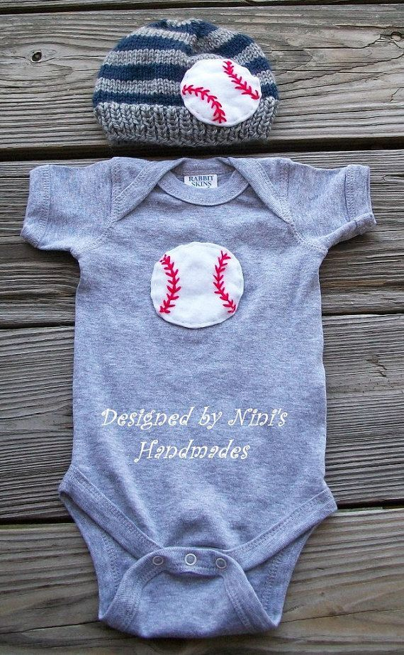 Knit Baby hat and Baby Onesie with Baseball by NinisHandmades, $37.00