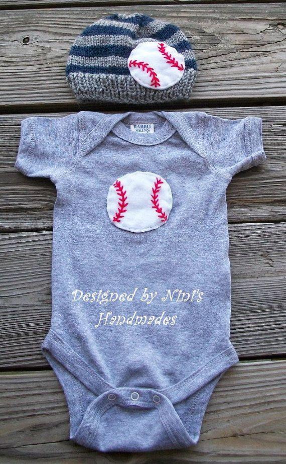 BASEBALL  Set- Baseball hat, Baseball clothing, boys clothing, baby clothes, childrens hat, sports hat, baseball, red and white baseball via Etsy