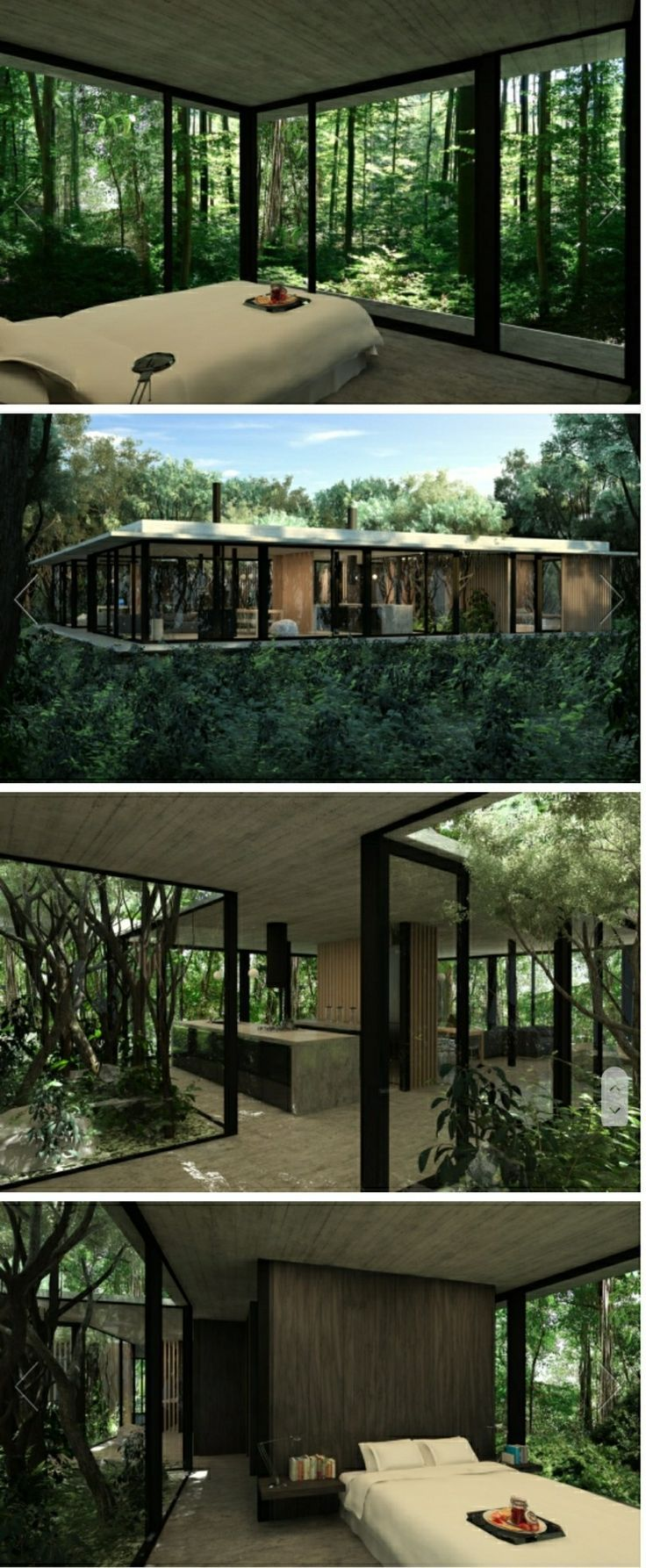 Outdoor terrace in the woods with interior furniture