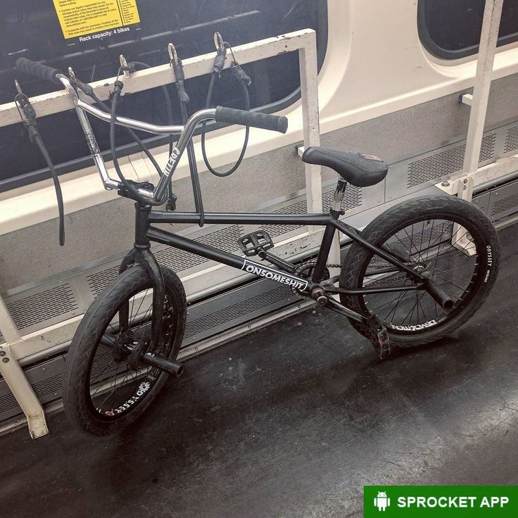 201? BMX freestyle bike of unknown brand and model on CalTrain. Comment if you know what it is   Get Sprocket the bike info app. Link in bio.  #BMX #Bike #Bicycle #onsomeshit