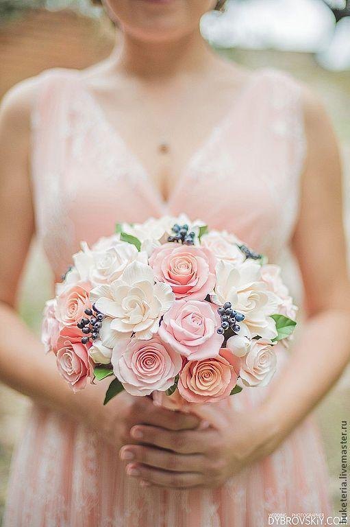 Купить Букет невесты из полимерной глины в коралловых тонах - букет невесты, букет из глины