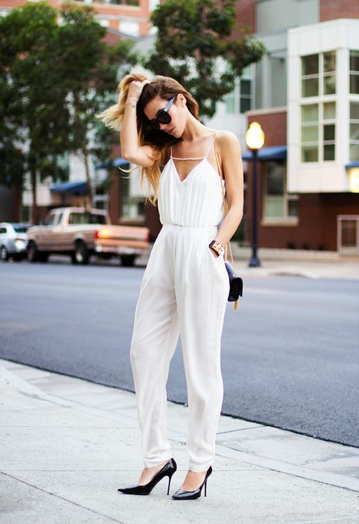 Turn your day jumpsuit look into a date night look by swapping your sandals for a pair of classic black pumps.