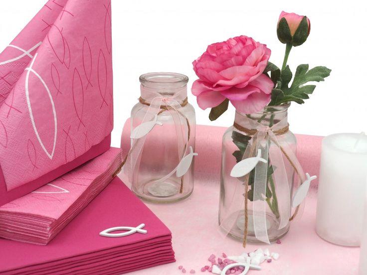 SET: 20 personen Tafeldecoratie Vis Roze Roze Wit Communie Bevestiging  – Kommunion/Konfirmation