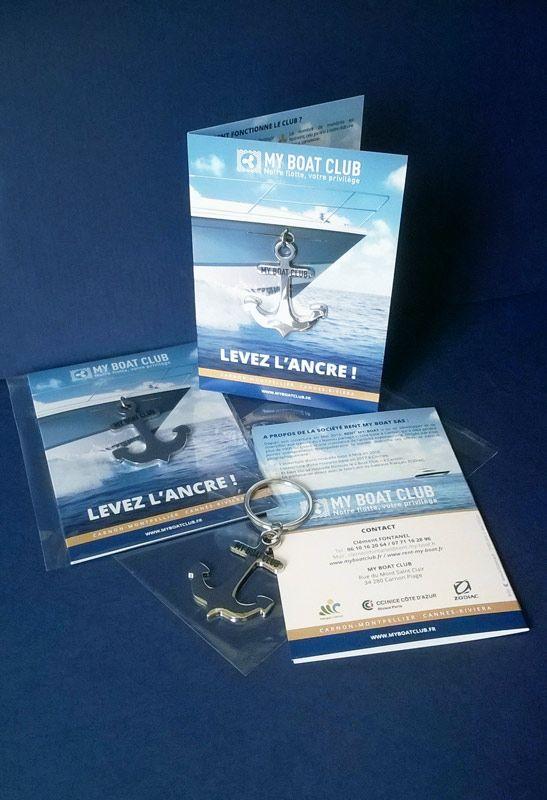 Création du cadeau d'inauguration pour http://www.myboatclub.fr , dans un packaging jouant sur le voyage.