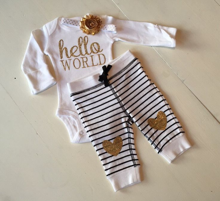 "Gold and black ""hello world"" outfit, new baby outfit, take home outfit, hospital outfit, newborn girl outfit by PaisleyPrintsSpokane on Etsy https://www.etsy.com/listing/217784975/gold-and-black-hello-world-outfit-new"