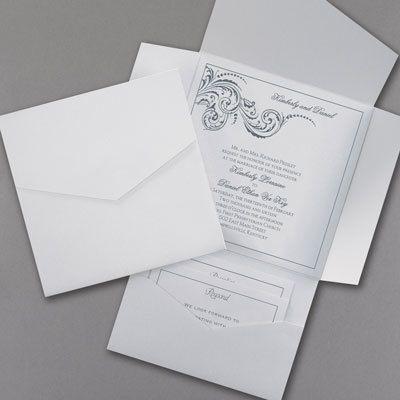 White Shimmer And Pocket Wedding Invitations Partyblockinvitationsoccasions Sa