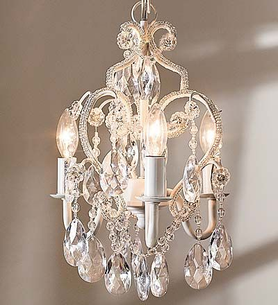 "Princess Chandelier  12"" Glass and Acrylic Bead Dangling Princess Chandelier with 3 25-Watt Bulbs - $79.98"