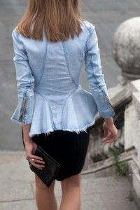 Denim blazer with black pencil skirt and clutch. Learn how to wear denim this fall 2015 >>> http://justbestylish.com/how-to-wear-denim-this-fall-2015/