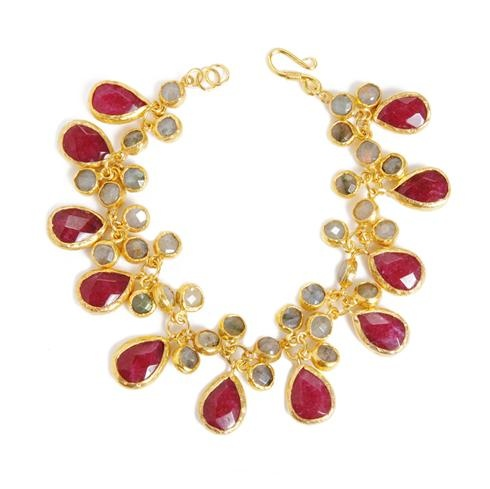 Featuring gorgeous pear-shaped rubies accentd by shimmering labradorites, this gem-filled bracelet is the perfect colorful accessory.  Lydia, at Greenwich Jewelers  $375Features Gorgeous, Gorgeous Pears Shapped, Gold Plates, Beautiful Baubles, Fashion Jewelry, Pears Shapped Ruby, Colors Accessories, Byzantine Dreams, Gem Fil Bracelets