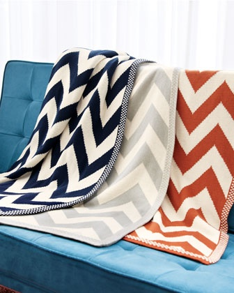 A preppy Chevron-Patterned Knit Throw makes a lovely host gift. #Horchow #Throw #Chevron