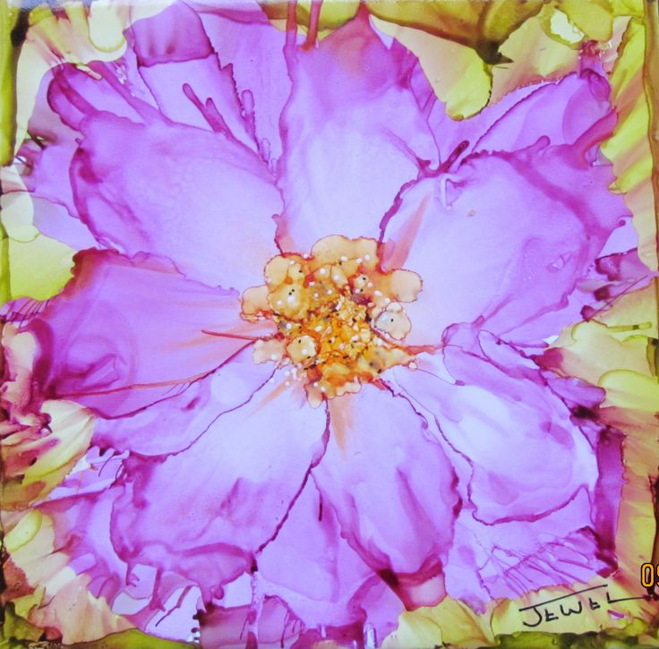 wild rose alcohol ink on ceramic tile by Jewel Buhay