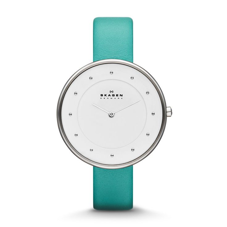 Klassik Women's Two-Hand Leather Watch - Turquoise Capture the spirit of springtime rejuvenation with a brush of turquoise and a versatile design, perfect for work or weekend wear. The Danish-inspired minimalist watch face paired with a rich turquoise leather band creates a sense of effortless eleganceBEHIND THE DESIGN: A nearly edgeless watch-face crystal mimics the wide-open possibility of the seas that borders Skagen.