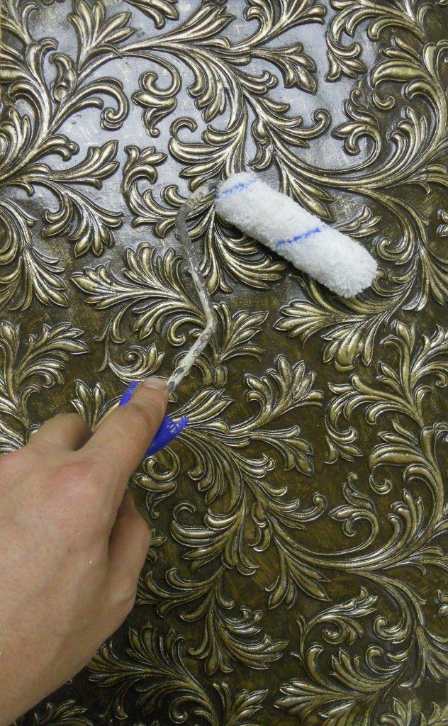 How to paint an AGED FAUX Finish on Lincrusta wallpaper --or the paintable embossed wallpaper you can buy at Home Depot or Lowes - Awesome look! (this wallpaper is great to use on upcycled furniture or to make covered canvas art panels!!)