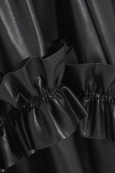 Cédric Charlier - Asymmetric Ruffle-trimmed Faux Leather Skirt - Black - IT