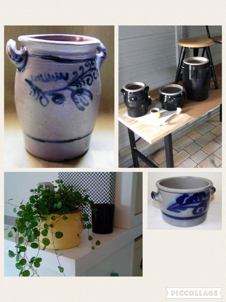 DIY: Aus alten Steingut-Krügen aus Omas Keller sind mit etwas Lack tolle neue Vasen entstanden...