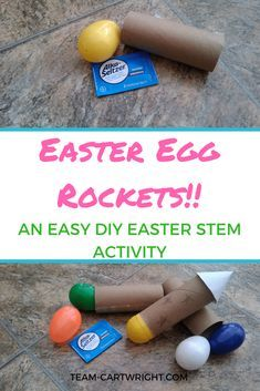 Easter Egg Rockets! They are very easy to make and super fun. You need plastic Easter Eggs and a toilet paper tube! Enjoy! Preschool Science Activity | Easter Science for kids | Easy Easter STEM | Easter learning activity #STEM #science #activity #Easter